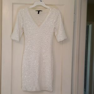 White sequin cocktail dress